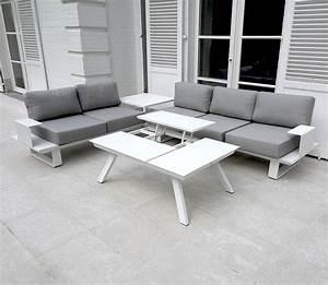 Salon De Jardin Blanc : salon de jardin aluminium blanc table de salon jardin maisonjoffrois ~ Teatrodelosmanantiales.com Idées de Décoration