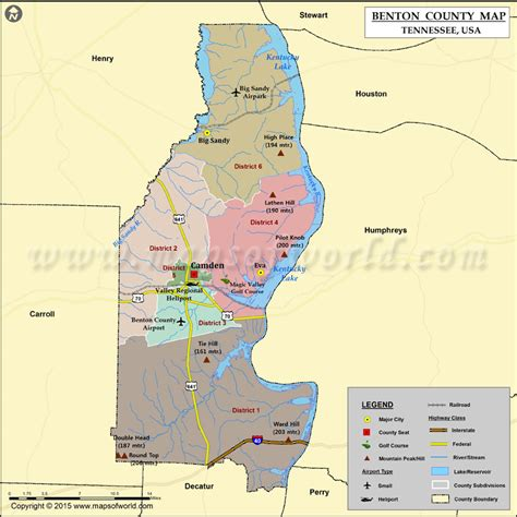 Benton County Map, TN   Map of Benton County Tennessee
