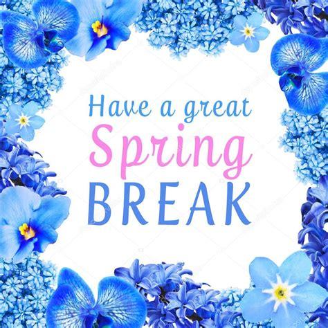 text   great spring break  floral frame  white