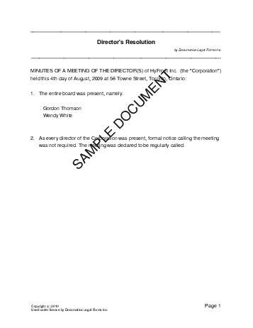 resolution template directors resolution canada templates agreements contracts and forms