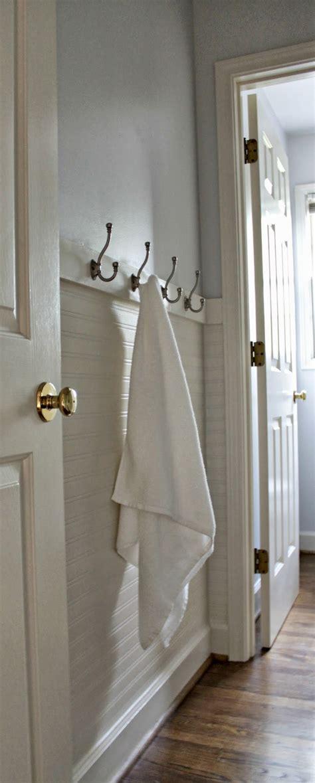 fresh paint beadboard wallpaper towel hooks