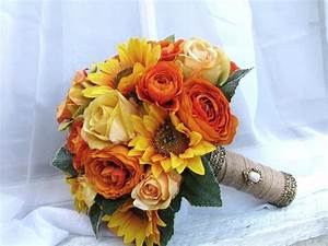 Silk Bridal Wedding Bouquet Sunflowers Yellow Roses Orange ...