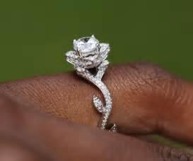 lotus flower wedding ring flower lotus engagement or right ring setting 1 03 carat 14k white gold