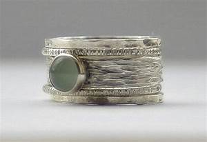 unique aquamarine rustic hammered recycled sterling silver With unique stackable wedding rings