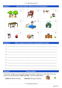 prepositions  place  tefll lessons teachers pay teachers