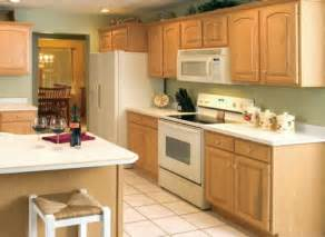 small kitchen with oak cabinets with natural paint color