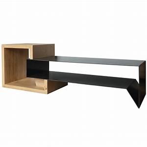 Meuble Bois Et Noir : meuble tv en m tal et bois konnect atelier mobibois ~ Dailycaller-alerts.com Idées de Décoration