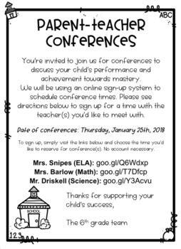 parent teacher conference flyer  shop  sarah tpt