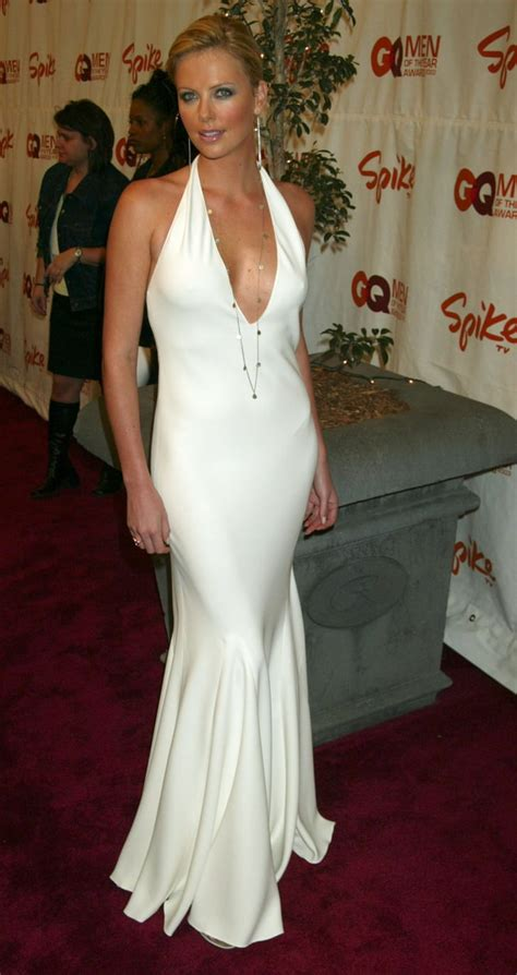 Charlize Theron Looked White Hot In A Cleavagebaring Ralph Lauren Sexiest And Hottest