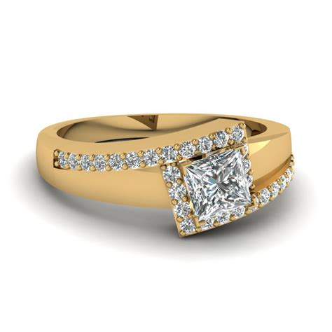 princess cut wide band discounted diamond engagement ring