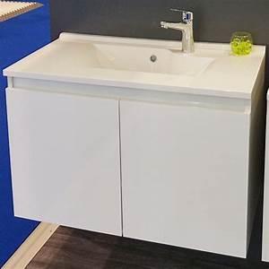 meuble proline 70 cm avec plan vasque et miroir blanc With meuble 70 cm