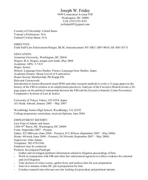 Federal Resume by Sle Federal Resume 8 Exles In Word Pdf