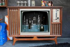 Hand Made Vintage Tv Television Cocktail Bar Cabinet by