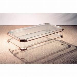 Table Basse En Plexiglas : table basse rectangulaire en plexiglas verre et laiton ~ Teatrodelosmanantiales.com Idées de Décoration