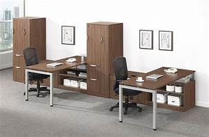 2, Person, Modern, Walnut, L, Shaped, Desks, With, Storage, Towers