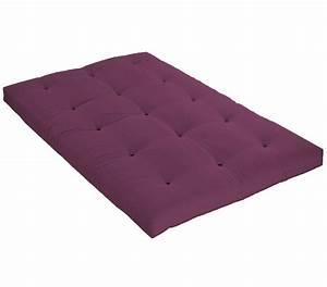 Futon 1 Place : matelas futon aubergine en coton ~ Teatrodelosmanantiales.com Idées de Décoration