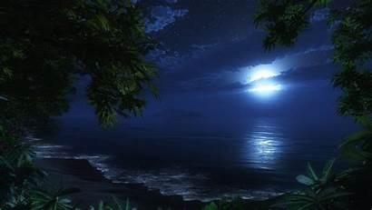 Beach Desktop Night Wallpapers Backgrounds Moonlight Moon
