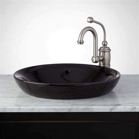 Closet Hardware by Milforde Porcelain Semi Recessed Sink Bathroom