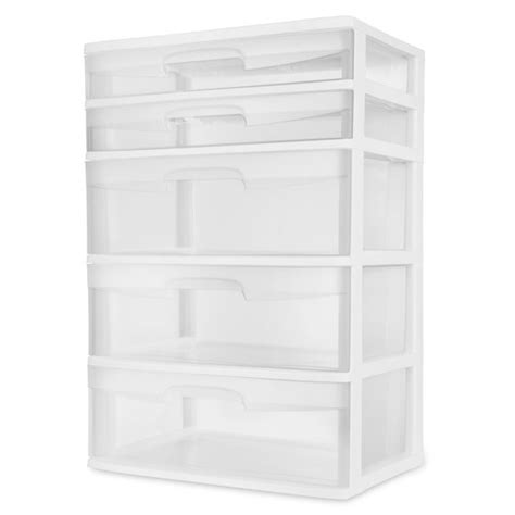 sterilite 5 drawer tower sterilite 5 drawer wide tower white walmart