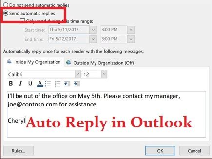 steps  configure   office auto reply  outlook