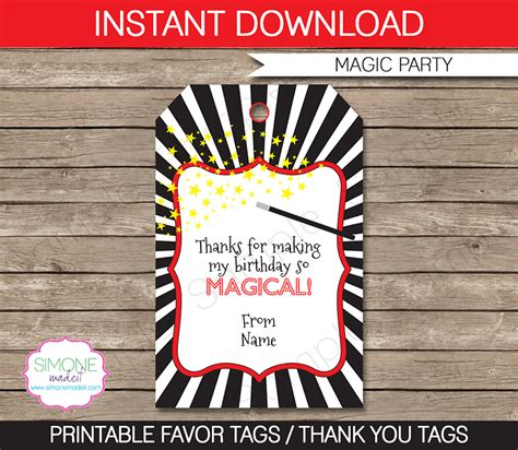 magic party favor tags   tags birthday party