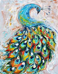 Original oil painting Peacock Dance palette knife impasto on