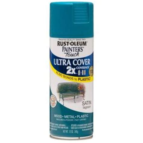 rust oleum painter s touch 2x 12 oz satin lagoon general purpose spray paint 6 pack 257461