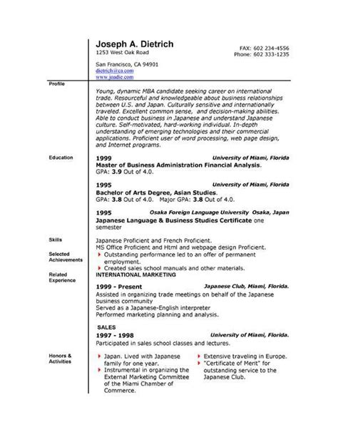 Free Resume Template For Word by Free Professional Resume Template Word 2010 Resume