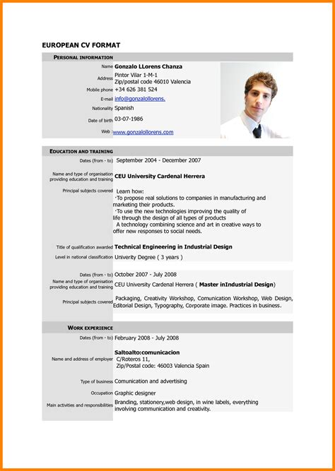 Cv Format by 5 Cv Format Pdf File Theorynpractice