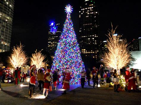 christmas lights from dallas on the ground winter time in dallas brings about the klyde warren park tree big d