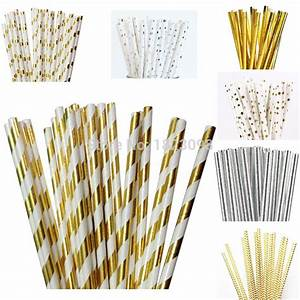 25pcs lot foil gold silver design paper straws drinking With decorative straws for weddings