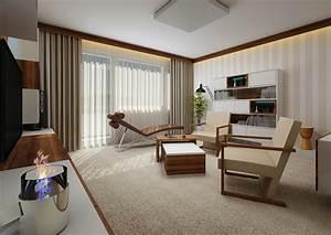Obývací pokoj v panelovém bytě