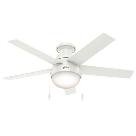 low profile white ceiling fan hunter anslee 46 in indoor low profile fresh white