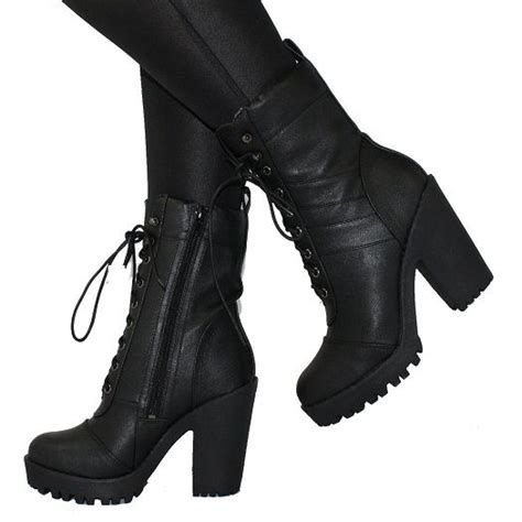 High Heeled Combat Boots Milly Black Heel Military