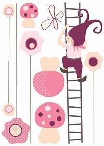 sticker bebe fille avec fleurs lutin et champignons With chambre bébé design avec noeud papillon a fleur