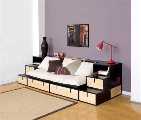 canapé lit avec rangement banquette brick bambou sofa canape meuble contemporain