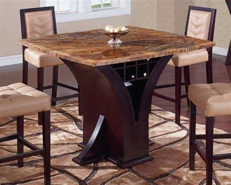 global furniture d800bt square marble top bar table with