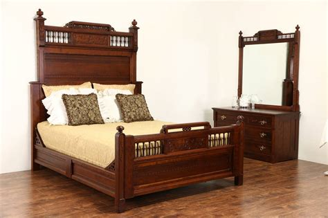 cherry victorian eastlake  antique bedroom set queen