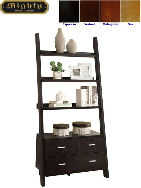 ladder bookcase with drawers wooden black ash 3 shelf leaning ladder bookcase with