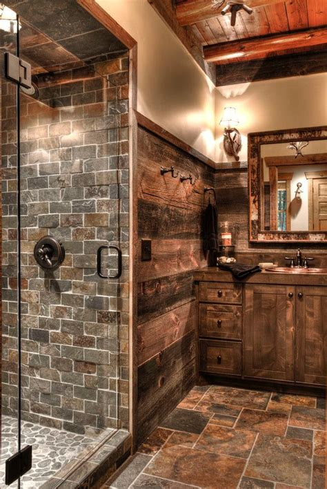 rustic bathroom designs ideas  pinterest rustic cabin bathroom stone bathroom