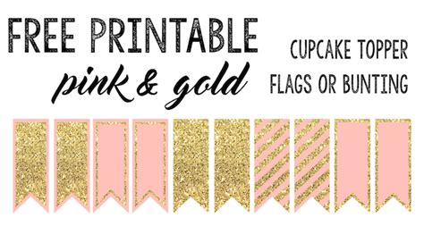 pink  gold cupcake topper flags  bunting paper