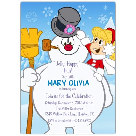 jolly happy frosty birthday invitations paperstyle
