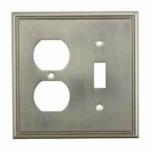 Satin Nickel Toggle  U0026 Duplex Combo Wall Plate Outlet