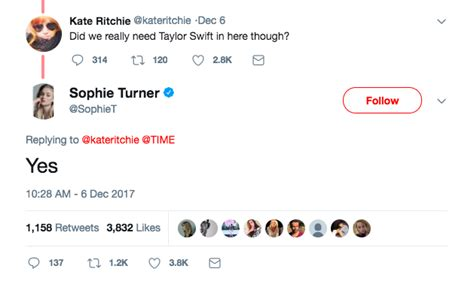 Sophie Turner Defended Taylor Swift's Inclusion as a