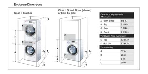 Closet Size For Stackable Washer And Dryer by Stackable Washer And Dryer Dimensions In Mm