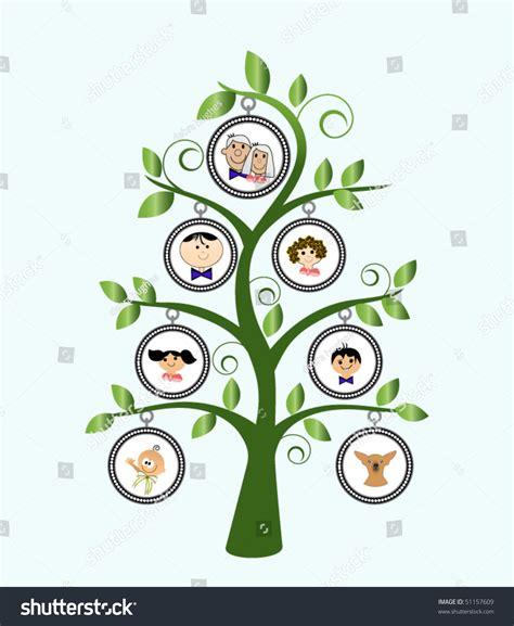 family tree cartoon family stock vector