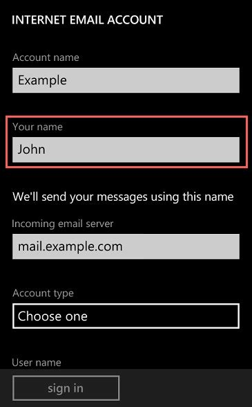 email application setup windows phone  bluehost