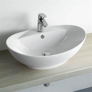 vasque a poser ovale avec plage ceramique 595 x 385 cm With salle de bain design avec vasque a poser avec trop plein