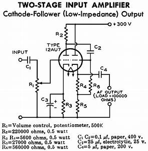 12au7    Ecc82 Cathode Follower Tube Preamplifier Schematic
