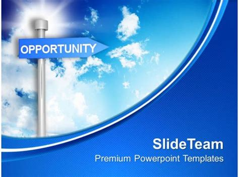 opportunity signpost  blue background powerpoint